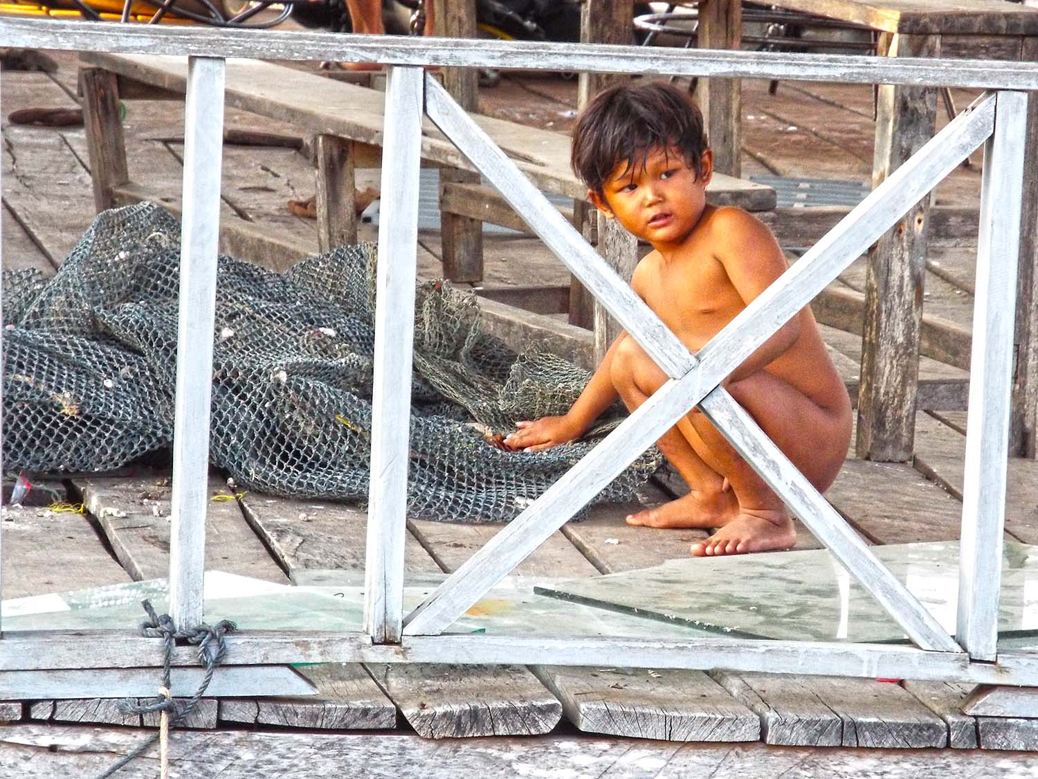 Cambodia fishermen village kid