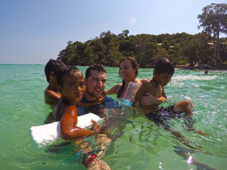 Cambodia kids swimming