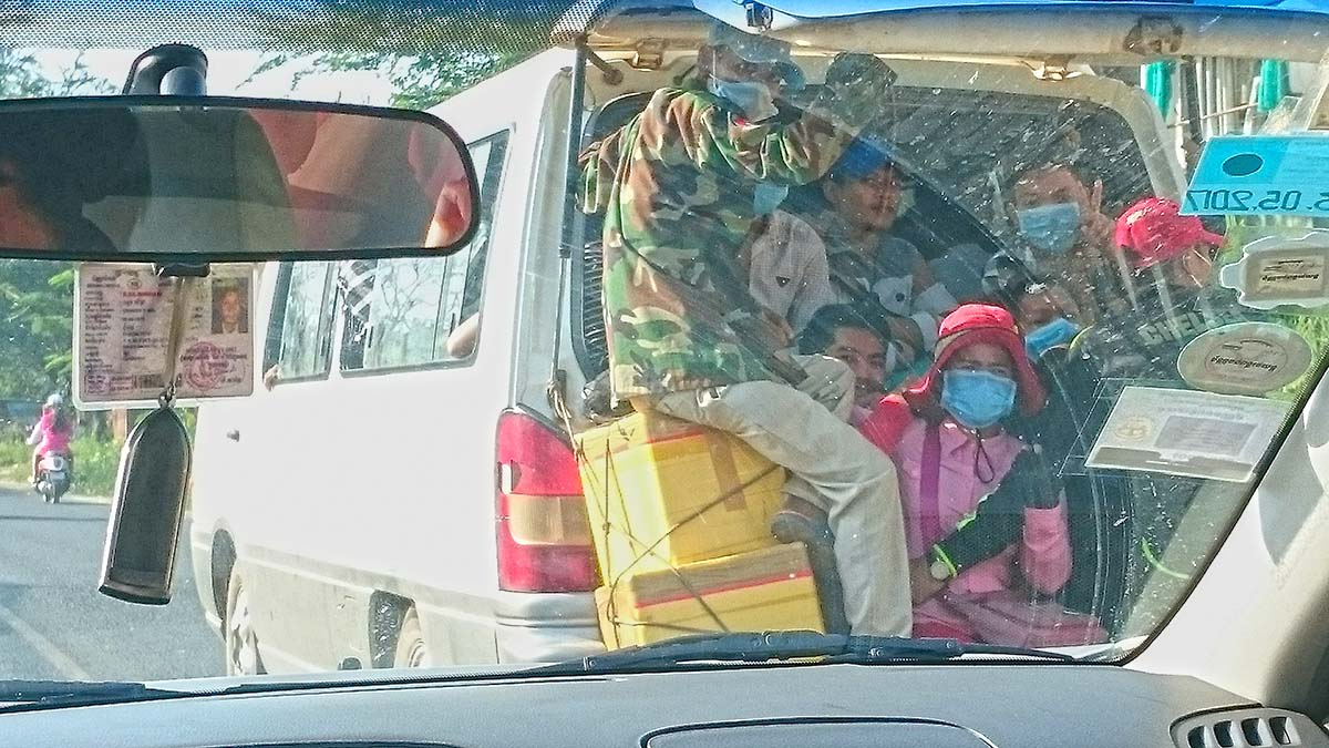 Minivan transportation in Cambodia.