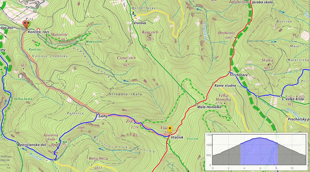Hiking map Vtacnik