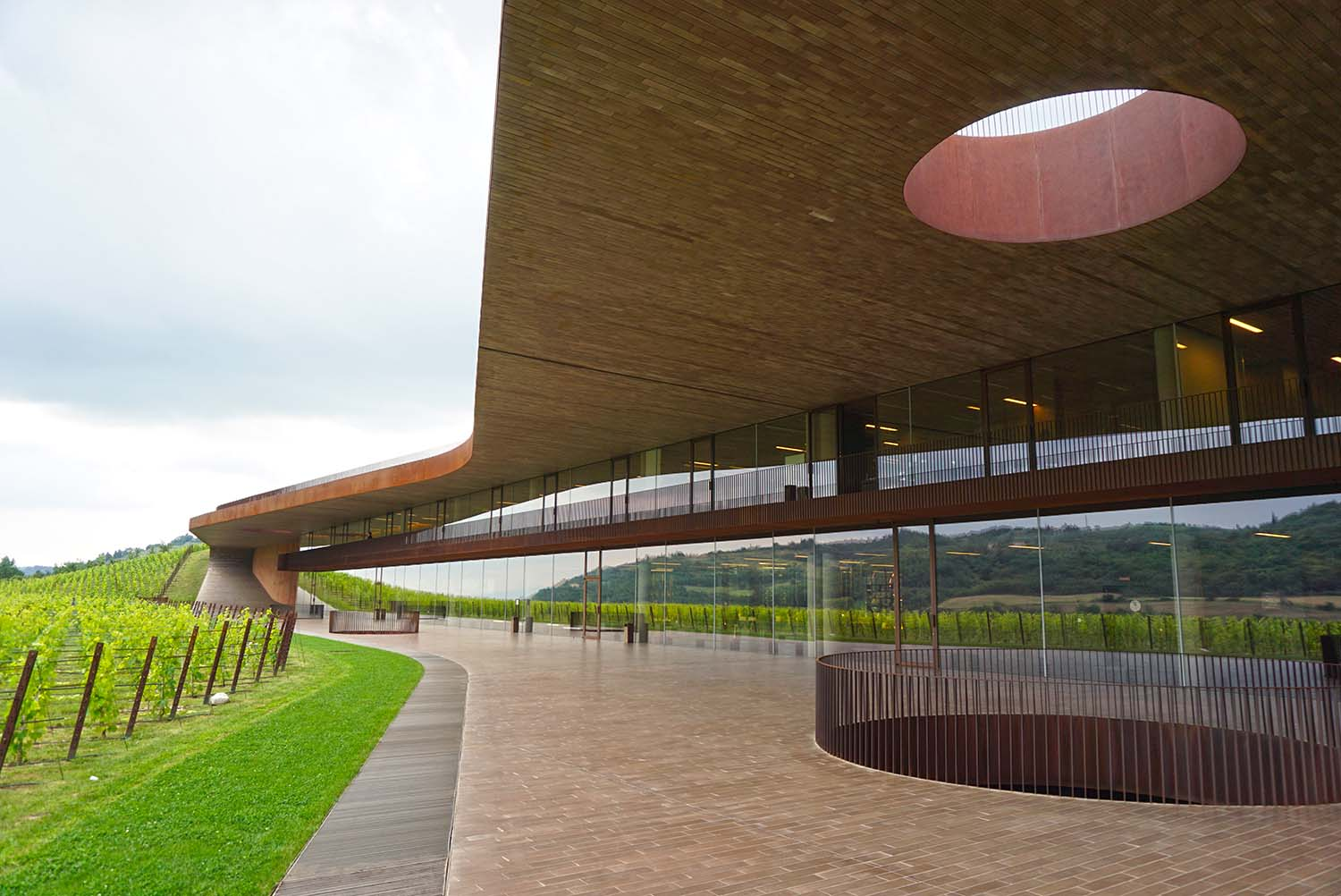 Very modern and cool lokiing Antinori winery in Tuscany