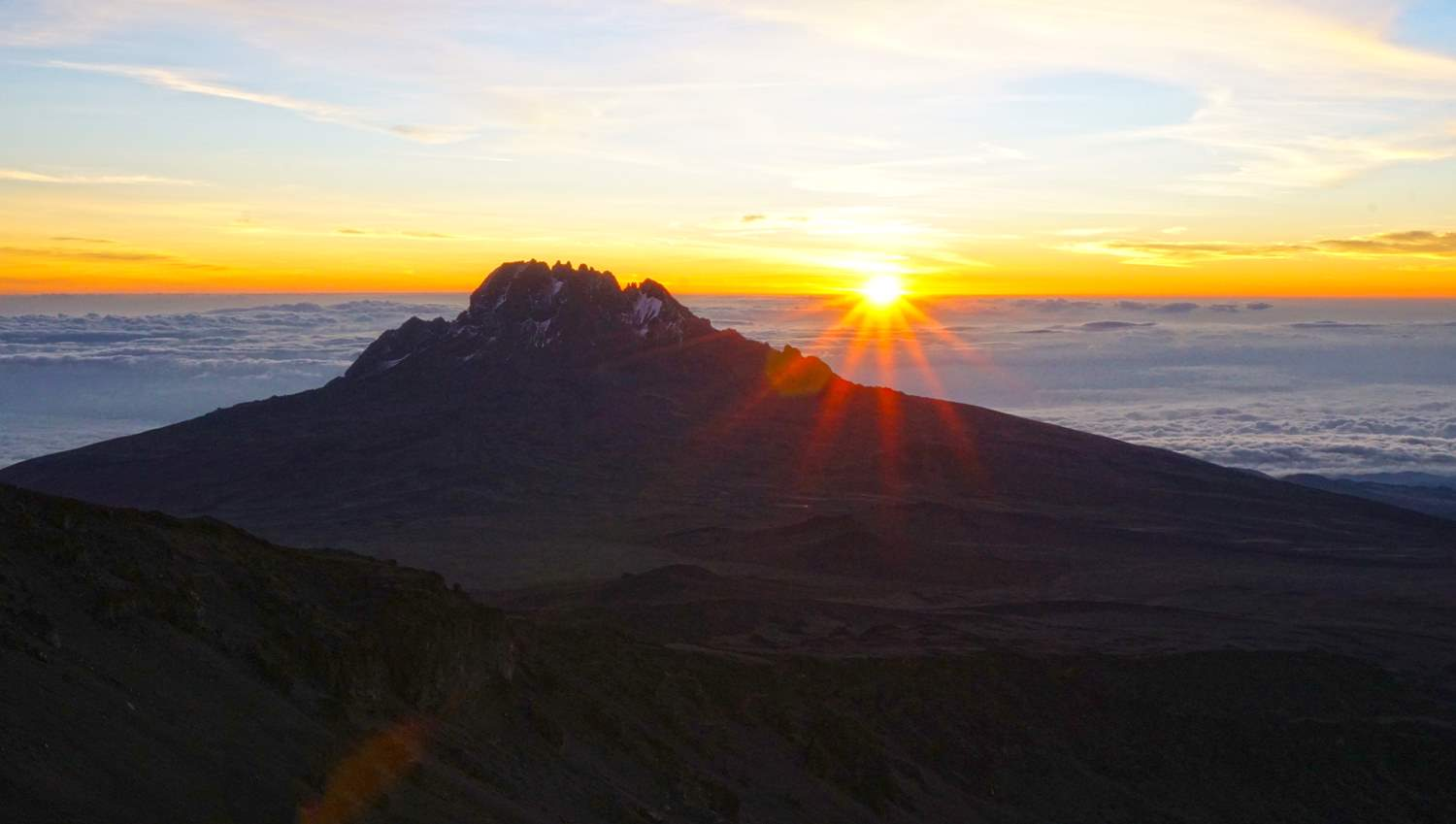 Sunrise over Mawenzi peak on summit day