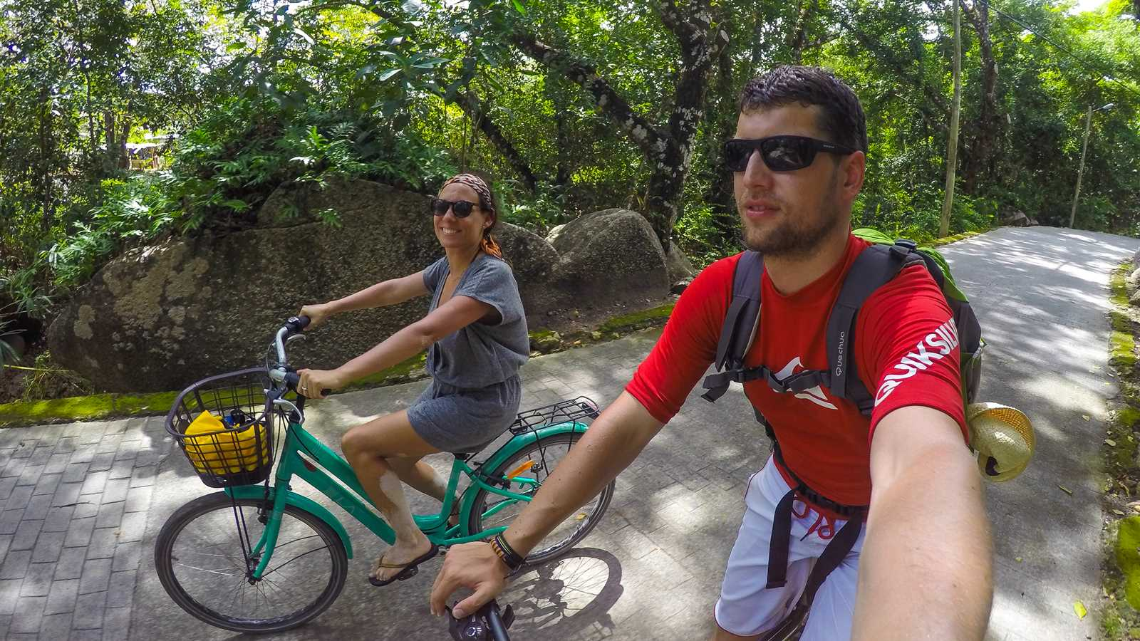 Biking on La Digue island in Seychelles