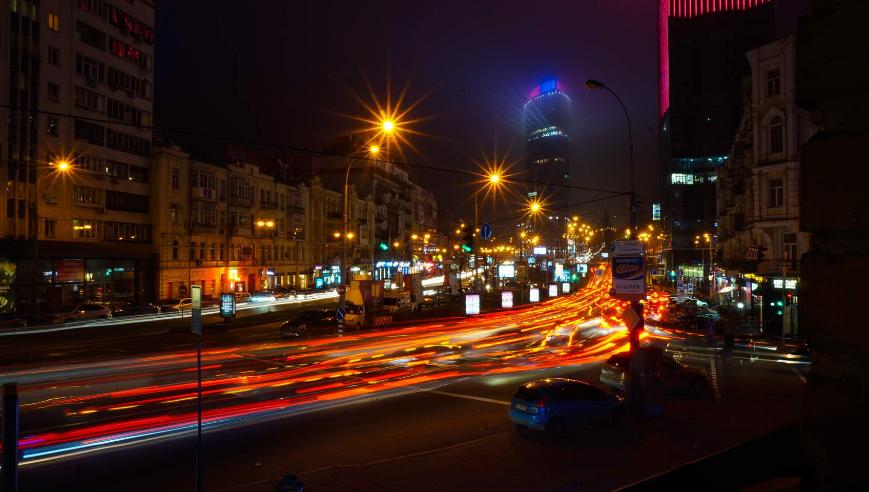 Night traffic in Kyiv