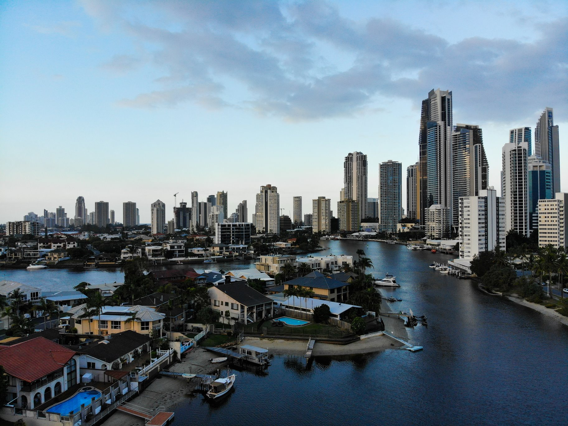 Drone view of Gold Coast skyline and cannals
