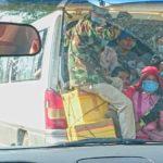 Minivan transportation in Cambodia.